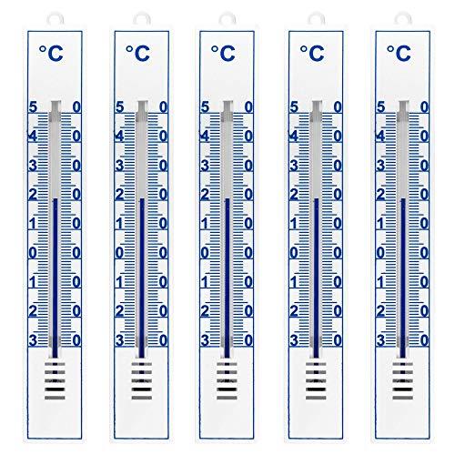Lantelme 5 Stück Thermometer Set für Innen Zimmer Außen und Garten analog Kunststoff weiß deutsche Herstellung 3297