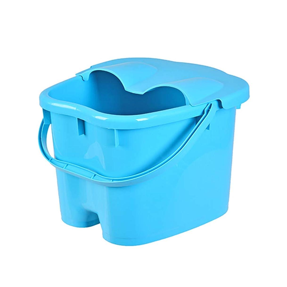 挽く不良音声足の熱保存のマッサージ浴槽の高さのフィートの洗面器が付いている携帯用フットバスのバケツ (Color : Blue, Size : 23cm high)
