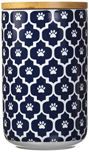 DII Bone Dry Ceramic Pet Treat Storage Canister with Air Tight Lid 4(Dia) x 6.5 (H), Perfect Food and Treat Jar for Dogs and Cats-Nautical Blue Paw Lattice
