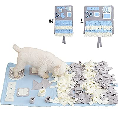 Snuffle Mat Nosework Blanket Dog Training Mats Dog Feeding Mat Pet Activity Mat Great for Stress Release(M, Grey)
