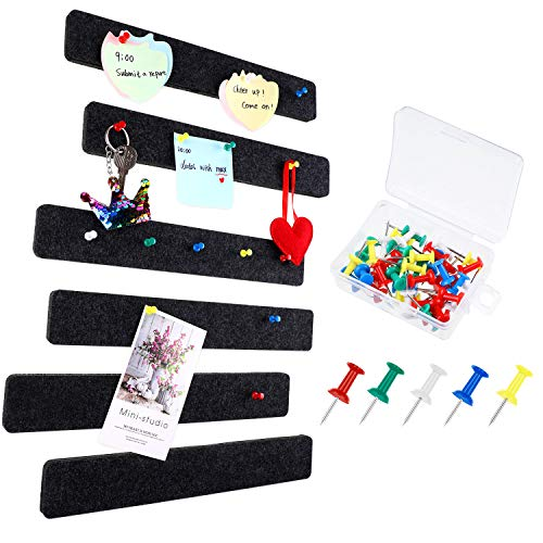8 Pieces Felt Bulletin Board Bar Strip Bulletin Bar with 40 Pieces Push Pins for Office Classroom Display Message Memo