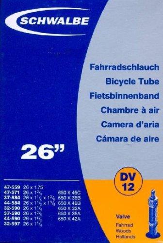 Schwalbe Fahrradschlauch DV12 47-559 Schwarz, 26 x 1 1/8-1.75