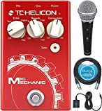 TC Helicon Mic Mechanic 2 Vocal Effects Pedal Bundle with R21S Dynamic Microphone, Blucoil Slim 9V Power Supply AC Adapter, and 10-FT Balanced XLR Cable