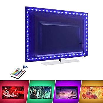 LED Strip Lights LED TV Backlight 14.3ft for 65-75in TV 16 Colors & 24Key Wireless Remote Controller USB Powered for TV Desktop PC