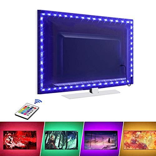 Luci a striscia LED, retroilluminazione TV a LED, 2,0 m per TV da 32-60 pollici, 16 colori e 24 tasti telecomando wireless, alimentato tramite USB per TV PC desktop