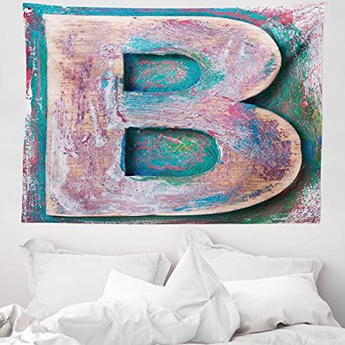 ABAKUHAUS Buchstabe b Wandteppich & Tagesdecke, ABC Druckmethode Old B, aus Weiches Mikrofaser Stoff Wand Dekoration Für Schlafzimmer, 150 x 110 cm, Teal Elfenbein Dunkel Coral