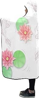 AIKENING Hooded Blanket Koi Carp and Lotus Paper Flowers Pattern Blanket 60x50 Inch Comfotable Hooded Throw Wrap