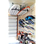 """StoreYourBoard Double SUP & Surf Ceiling Storage Rack, Hi Port 2 Overhead Hanger Mount, Home & Garage 11 DOUBLE SUP CEILING STORAGE: Two-sided overhead rack holds 2 paddleboards for space-efficient storage! HEAVY-DUTY STEEL: Built to hold up to 150 lbs (75 lbs per side), that's multiple boards at home, garage, or paddle shop. ADJUSTABLE HEIGHT: Adjust the center column adjust from 10"""" to 18"""" tall to provide you exactly the storage thickness that fits your space and storage needs; remove the arms with the push of a button."""