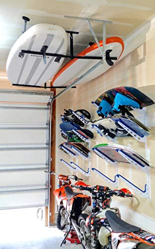 """StoreYourBoard Double SUP & Surf Ceiling Storage Rack, Hi Port 2 Overhead Hanger Mount, Home & Garage 3 DOUBLE SUP CEILING STORAGE: Two-sided overhead rack holds 2 paddleboards for space-efficient storage! HEAVY-DUTY STEEL: Built to hold up to 150 lbs (75 lbs per side), that's multiple boards at home, garage, or paddle shop. ADJUSTABLE HEIGHT: Adjust the center column adjust from 10"""" to 18"""" tall to provide you exactly the storage thickness that fits your space and storage needs; remove the arms with the push of a button."""