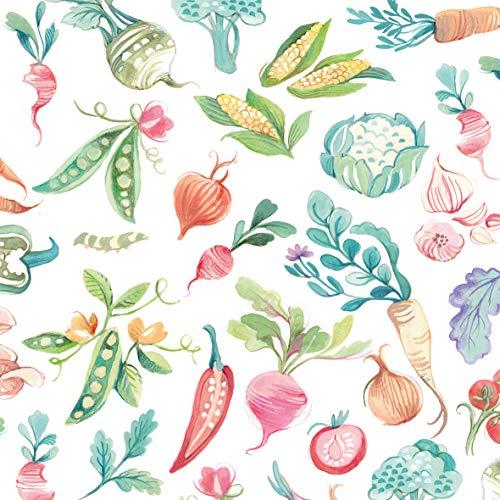 CasaJame Set di 40 (2 Confezioni da 20 Pezzi cad) Tovaglioli in Carta Monouso 3 Strati Veli 33x33cm Multicolore Motivo Verdure
