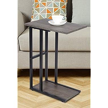 GIA 1 C Shape Side End Table, Gray Ash/Black