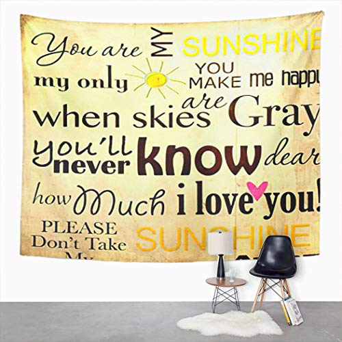 Trikptey Tapestry Poem You are My Sunshine Word on Vintage Love Saying Baby 10X10 5X5 Child Clip Tapestry Wall Hanging Wall Cloth Tapestry Carpet for Living Room Bedroom Home Dorm Decor 60'x80'