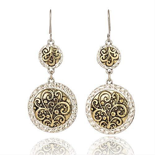Boucle d'oreille pendantes Boucles d'oreilles ethniques Cercle de dames Femme Personnalisé Motif doré Totem Métal hypoallergénique