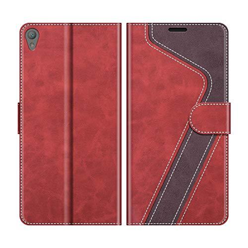 MOBESV Handyhülle für Sony Xperia E5 Hülle Leder, Sony Xperia E5 Klapphülle Handytasche Hülle für Sony Xperia E5 Handy Hüllen, Modisch Rot