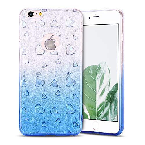 Anfire-ES Funda iPhone 6 Plus/iPhone 6S Plus Transparente Carcasa Silicona Case Flexible Gel TPU Bumper Tapa Antigolpes Anti Rasguños Suave Protector Caso Cubierta Trasero Color de Degradado - Rosa