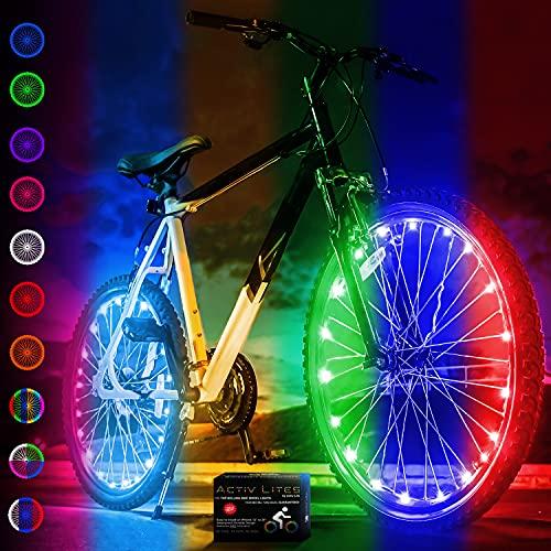 Activ Life - Stylische LED-Fahrradradleuchten mit Batterien inklusive! 100{27ae152b41d1392b92fcdec702babc1d162a1ef06145fb81e9f556d00e596f7d} mehr Helligkeit und Sichtbarkeit von Allen Winkeln (2 Reifenpaket) (Color Changing, 2 Räder)
