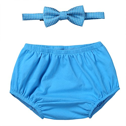 iEFiEL Infant Baby Boys 1st Birthday Outfit Diaper Cover Bloomers Shorts with Bow Tie Photo Props Party Clothes Set Sky Blue 12-18 Months