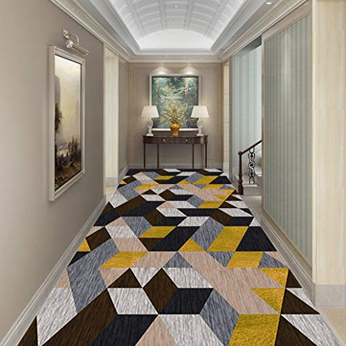 Hall Rugs Runners with Non-Skid Rubber Backing, Gray with Yellow Geometric Trellis Design Washable Plaid Indoor Outdoor Area Rug Runner (Color : A, Size : 100×200cm)