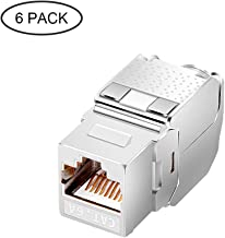 CAT6A RJ45 Keystone Jack [UL Listed] Shielded Tool-less Keystone Punch-Down Stand and 180-Degree with Color Coded Wiring Schema for Wall Plate Outlet Panel (Metal case, 6 Pack)