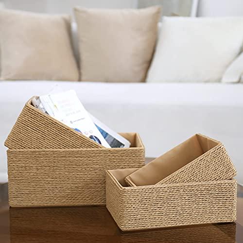 Storage Baskets Set 4 - Stackable Woven Basket Paper Rope Bin, Storage Boxes for Makeup Closet Bathroom Bedroom (Yellow)