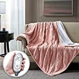 Hyde Lane Sherpa Electric Throw Blanket | Premium Blush 60x70 Oversized Plush Heating Blanket | Extra Cozy & Soft | 3 Heat Settings | Auto-Shutoff | Machine Washable