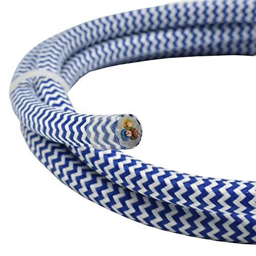 1,20m textielkabel blauw wit zigzag 3G 0,75 mm2 stofkabel voor hang- en hanglampen tafellampen vloerlampen stroomkabel met stof lampkabel