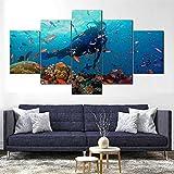 5 piezas cuadro sobre lienzo imagen,cuadro decorativo grande,Cuadro sobre Impresión Lienzo 5 Piezas Buceo Arrecife De Coral Mar cuadro decorativo abstracto salon dormitorio Listo para Colgar Marco
