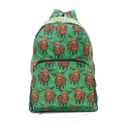 Folding Backpack Rucksack Highland Cow Print