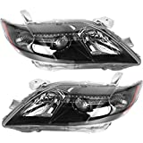 Headlamps Assembly Projector Headlights Polycarbonate Lens Black Left + Right Pair Set Fit for 2007 2008 2009 Toyota Camry