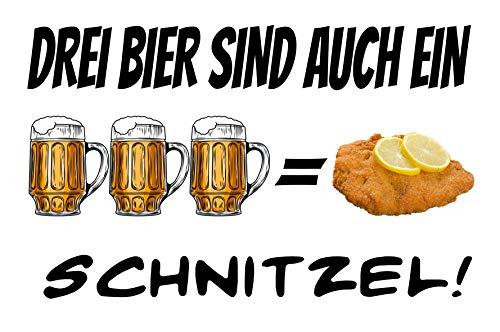 Drei Bier sind auch ein Schnitzel Gleichung Blechschild Metallschild Schild gewölbt Metal Tin Sign 20 x 30 cm
