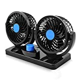 12V Electric Car Fan 360 Degree Rotatable 2 Speed Dual Head Car Auto Cooling Air Circulator Fan for Van SUV RV Boat Auto Vehicles Golf