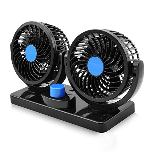 12V Electric Car Fan 360 Degree Rotatable 2 Speed Dual Head Car Auto Cooling Air Circulator Fan for Van SUV RV Boat Auto Vehicles Golf