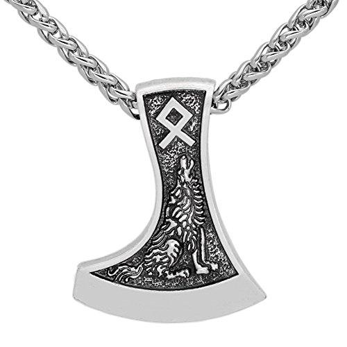 LoverInDec Halskette mit Anhänger, Amulett für Herren, Motiv: Wikinger-Axt, mit Rune, Wolf- und Raben-Motiv