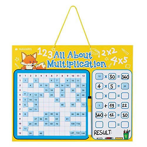 Navaris Juego para Aprender a multiplicar - Tablero magnético de Pared en inglés - Juego de multiplicación para niños con 144 imanes - Amarillo