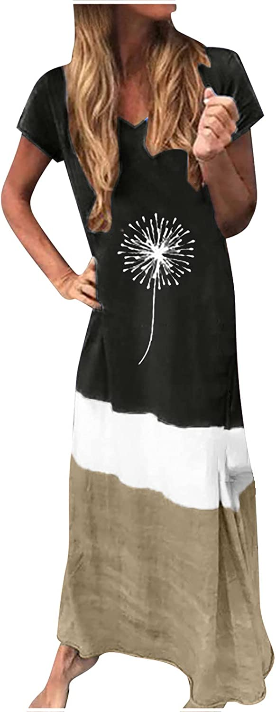 Sun Dresses Women Summer Women's Casual Loose Splicing Short Sleeve Printed O-Neck Ankle-Length Dress Casual Sexy Boho Black