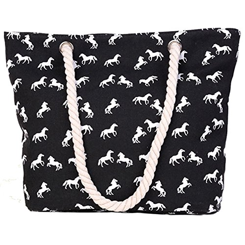 Minetom Damen Strandtasche Shopper Aufdruck Style Schultertasche mit Reißverschluss Pferd Schwarz