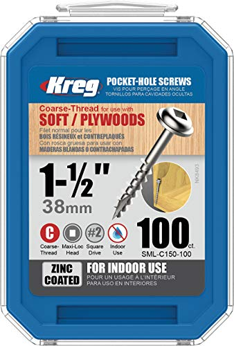 "Kreg SML-C150-100 Pocket Screws, 1-1/2"" #8 Coarse-Thread, Washer-Head (100 Count)"