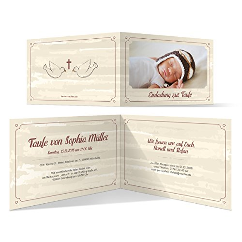 10 x Taufeinladungen Taufkarten Einladungskarten Taufe Einladung - Segnende Tauben