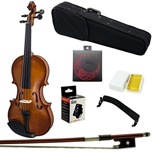 Paititi 3/4 Size Artist-100 Student Violin Starter Kit with Brazilwood Bow Lightweight Case, Shoulder Rest, Extra Strings and Rosin