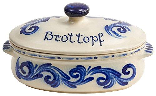 Vivapollo Original Brottopf Brotkasten Keramik westerwälder Kannenbäckerland salzglasierte Steinzeug Steingut Keramik Ton oval groß Dekor geblaut Deutsche Handarbeit