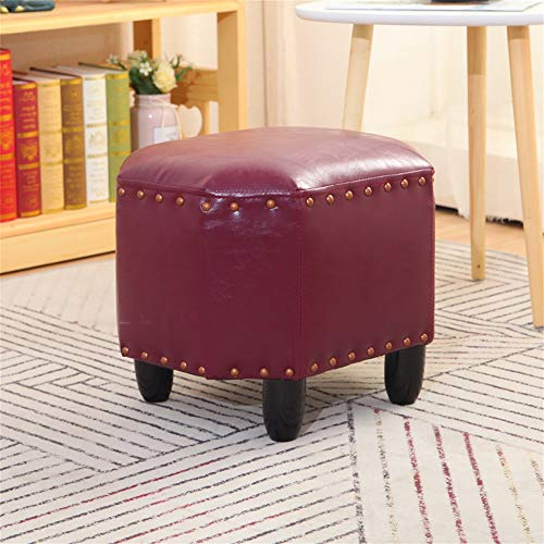 KST 16in Foot Stool Small PU Leather Ottoman, Footrest Stool with Solid Wood Feet, Modern Upholstered Footrest for Living Room Bedroom, Dark Green
