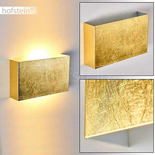 Wandlampe Crotone, moderne Wandleuchte aus Metall in Gold mit Lichtspiel an der Wand, 2 x E14 max. 40 Watt, Innenwandleuchte mit Up & Down-Effekt in Blattgold-Optik, geeignet für LED Leuchtmittel