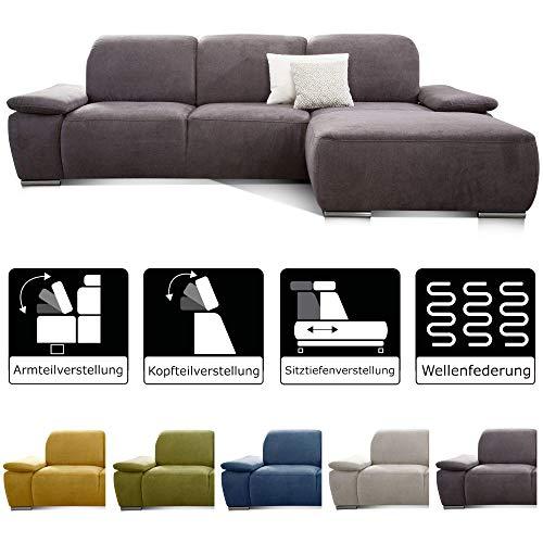 CAVADORE Ecksofa Tabagos / Große Couch mit Longchair rechts / Sitztiefenverstellung / Kopfteilverstellung / Armteilfunktion / 283 x 85 x 187 / Grau