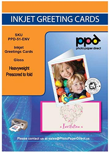 """Price comparison product image PPD Inkjet Glossy Printable Greeting Cards LTR 8.5 x 11"""" 64lbs. 240gsm 10.9mil With Envelopes x 50 Sheets (PPD051-ENV-50)"""