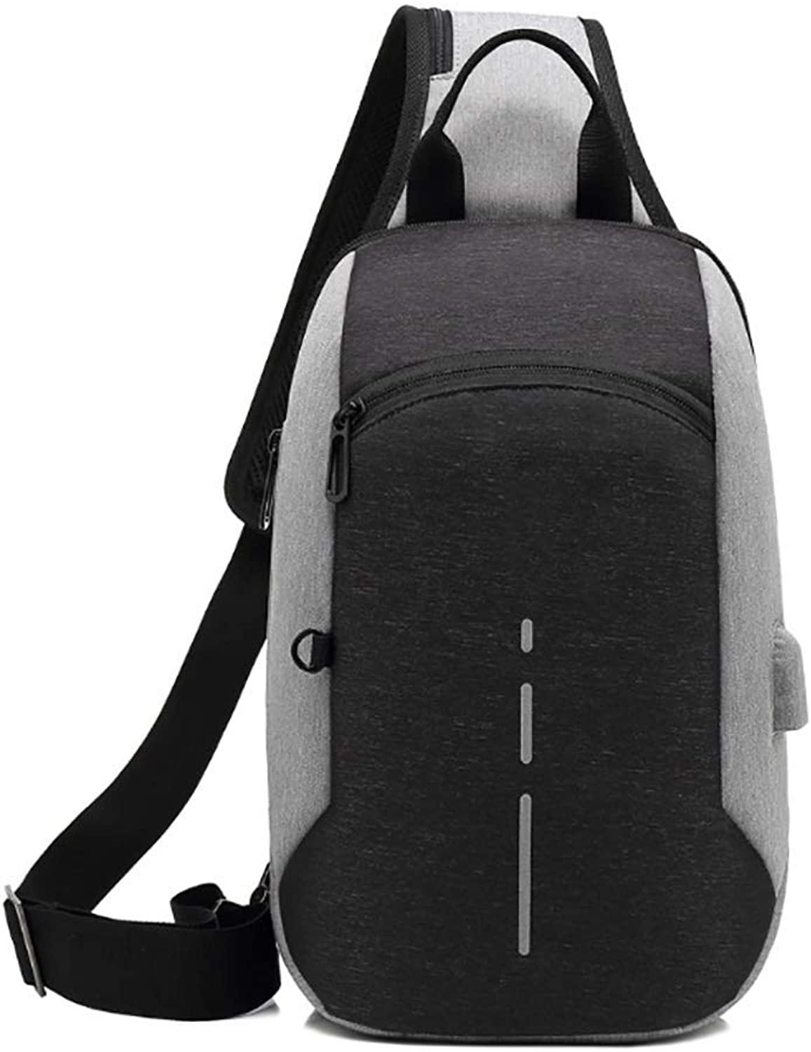 Anti Theft Shoulder Chest Crossbody Backpack Sling Bag USB Charging Daypack with Tablet Compartment