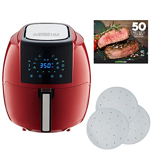 GoWISE USA 5.8-Quarts 8-in-1 Air Fryer XL with 1-Pack Parchment Paper + 50 Recipes for Your Air Fryer Book (Chili Red (Paper))