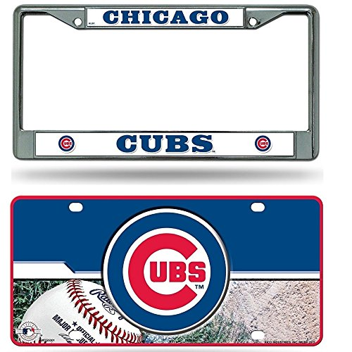 Rico Industries Chicago Cubs Chrome License Plate Frame & Cubs Metal Tag License Plate