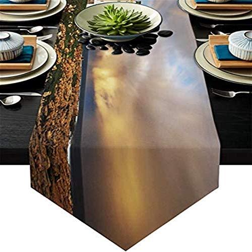 VJRQM Camino de mesa de café antideslizante de arpillera para cenas, fiestas de vacaciones, bodas, eventos, decoración, faro de San Francisco en Sudáfrica paisaje arco iris, 45,7 x 182,8 cm