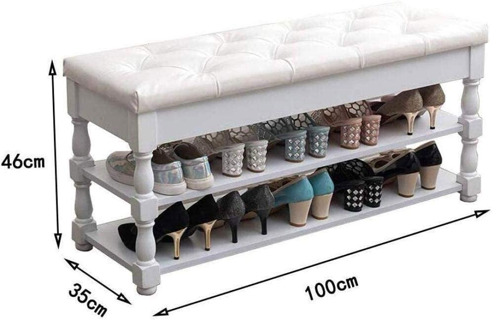 Color : B, Size : 80x35x46cm Max Load 200kg YANG Shoe Racks Solid Wood Hallway Change Shoe Bench with Seat Cushion Cloakroom Upholstered Footstool Home Pouffes Ottoman 100x35x46cm