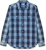 find. Camisa de Cuadros de Manga Larga para Hombre, Azul (Indigo Check), Medium
